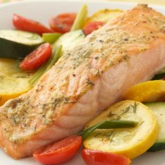 Tray-Baked Salmon with Olives, Green beans, Anchovies and Tomatoes